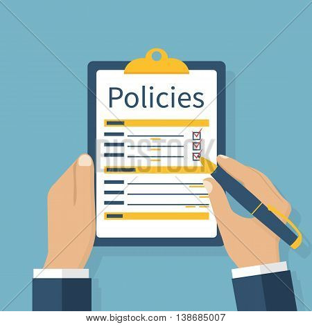 Clipboard in hands of a man with a sheet policies. Write a safety form. Document protection. Handle in the hands of a businessman. Vector illustration flat design. poster