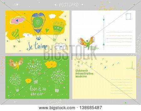 Children Rehabilitation Medicine. Congratulation Postcard And Vector Logo Depicting The Silhouette O