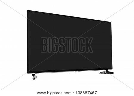 Modern blank flat screen TV set. Side view. Isolated on white background.