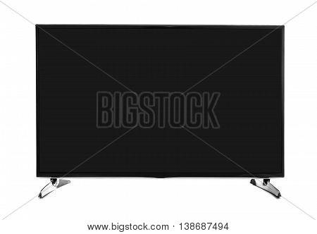 Blank flat screen TV set. Isolated on white background.