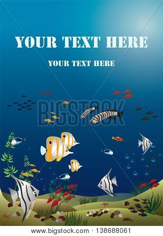 tropical fishes bottom of the ocean - vector illustration