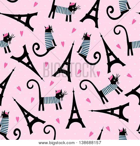 Paris symbols seamless pattern. Cute cartoon parisian cat and tour Eiffel vector illustration on pink polka dots background. French style dressed cat with beret and striped frock.