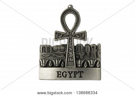 Silver colored Egyptian symbol of life Ankh with Egypt label isolated on white background