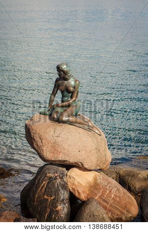 Little Mermaid Statue In Copenhagen, Denmark