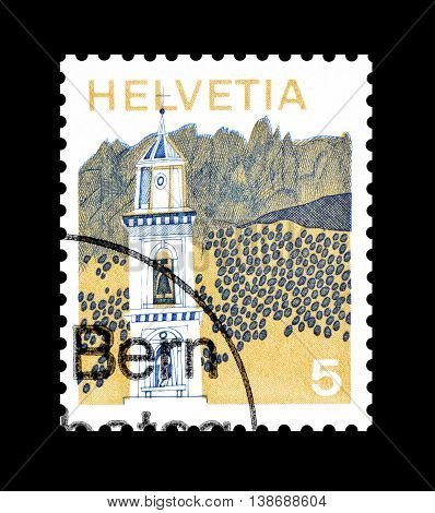 SWITZERLAND - CIRCA 1973 : Cancelled postage stamp printed by Switzerland, that shows Bidogno.