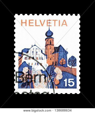 SWITZERLAND - CIRCA 1973 : Cancelled postage stamp printed by Switzerland, that shows Werthenstein.