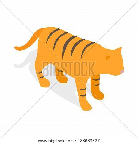 Tiger, symbol of South Korea economics icon in isometric 3d style isolated on white background