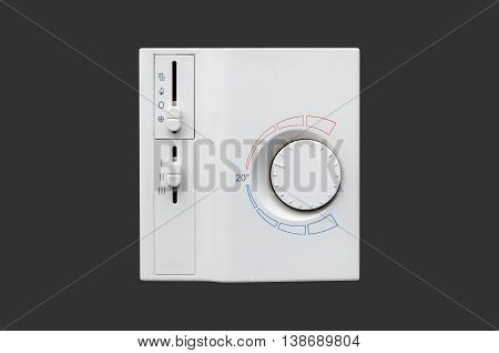 Air Conditioner Thermostat Panel Isolated On Dark Background