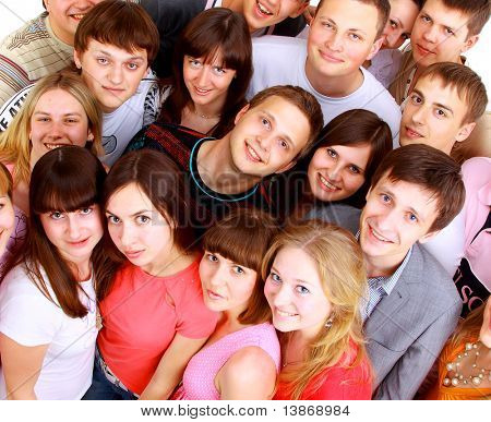 Top view portrait of happy men and women standing together and smiling