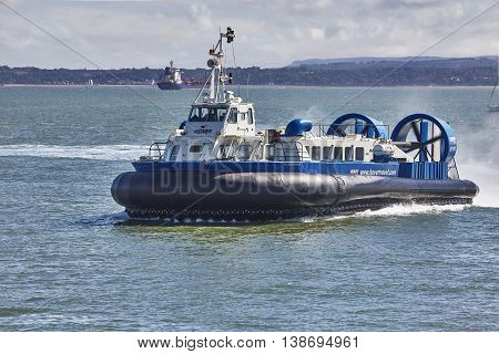 Portsmouth UK, July 2016. Portsmouth to Ryde Hovercraft