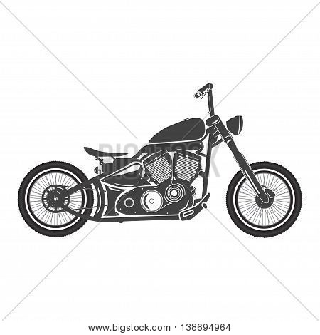 Old vintage motorcycle. retro bobber motorbike. vector illustration