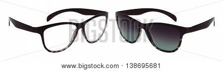 eye glasses and sun glasses isolated on white background