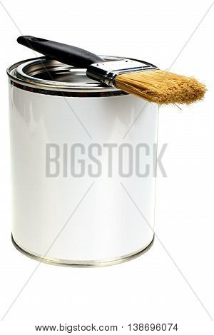 Paint can with blank white label and paintbrush isolated with clipping path