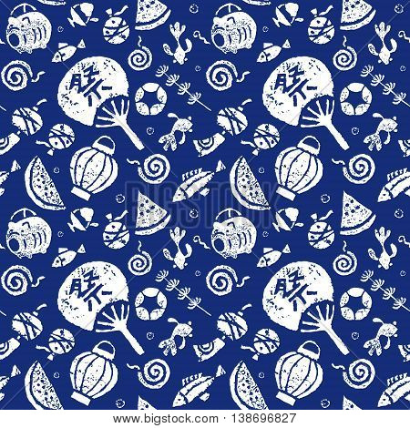 Japanese summer seamless pattern paper fan goldfish watermelon wind chime and mosquito coil