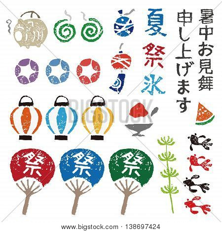 Japanese summer elements lantern goldfish paper fan wind chime and mosquito coil