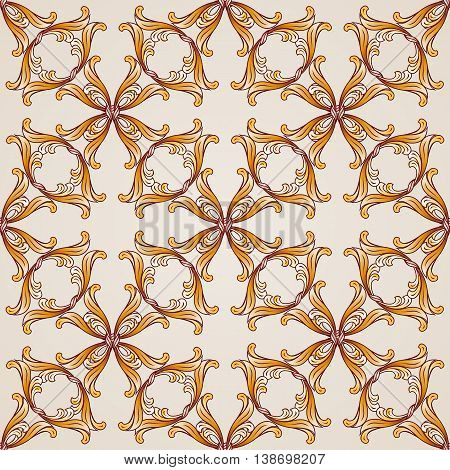 Seamless abstract floral pattern in the form of saturated golden vines