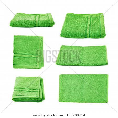 Single green terry cloth towel isolated over the white background, set collection of six different foreshortenings