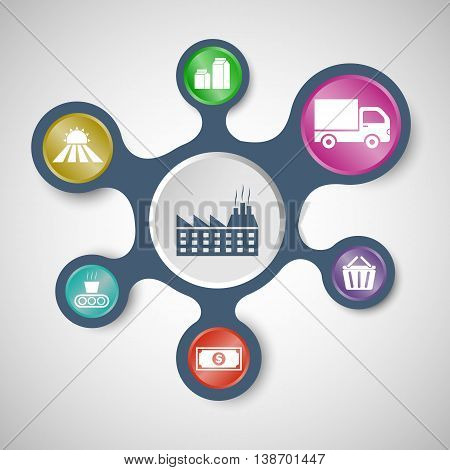 Supply chain infographic templates with connected metaballs, stock vector