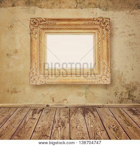 Vintage frame mock up and empty deck floor over old wall background