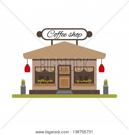 Set of different colorful shops: bakery, meat shop, coffee shop, farm products, fruit and vegetables. Flat vector illustration stock set. Infographic elements. Showcases stores on the street
