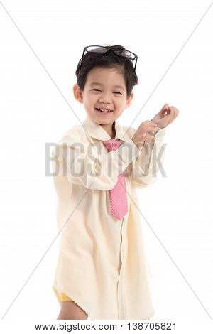 Little asian child pretending to be business man on white background isolated