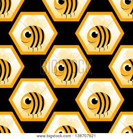 black seamless pattern with big honeybee. vector