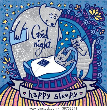 Good night happy sleepy. Stunning card with cute rabbit in the cradle, bear and cat singing a lullaby. Awesome background with stars and flowers in cartoon style in vector.