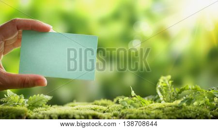 Hand holding blank paper card on nature background