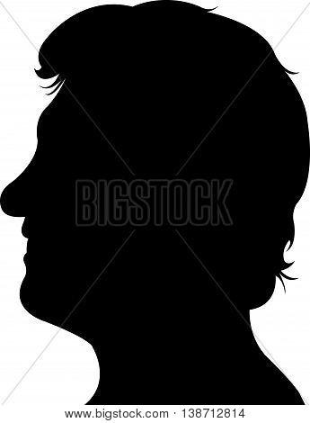 a man head black color silhouette vector