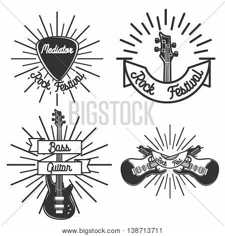 Set of vintage rock emblems. Music theme. Vector illustration, EPS 10