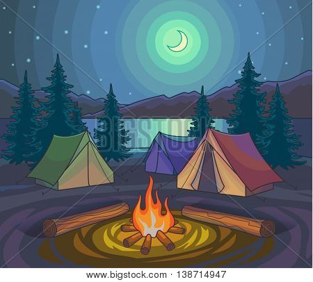 Camping night with tents and bonfire under moonlight. Hiking outdoor recreation, adventures in nature. Evening camp. Night Nature Scene. Cartoon Style. Vector Illustration.