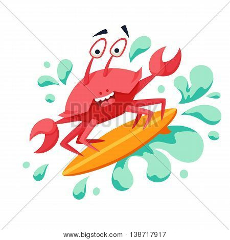 Surfer cool crab on wave. Sirfing monsters. Fun surf print with cute crab vector illustration. Comic sea character on surfboard. Water sports kid poster. Ride crab athlete