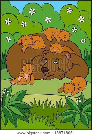 Cartoon Animals For Kids. Daddy Bear With His Sleeping Little Cute Baby Bears.