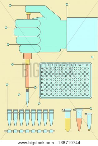 Polymerase chain reaction equipment with hand holding pipette plastic plate eppendorf strip. Vector illustration for medical analysis diagnostics scientific research molecular biology dna sequencing.