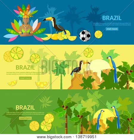 Brazil banners Rio de Janeiro girl in carnival costume brazilian culture and attractions vector illustration