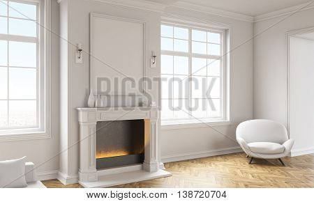 Living Room With Empty Frame