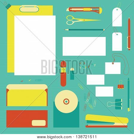 Flat stationery tools, pen set. Pen, pencil, scissors, stationery knife and stapler collection. Pens vector set. School pens tools. Office tools.