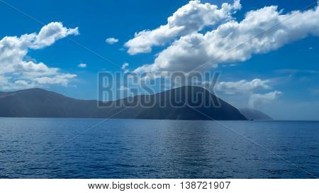Mountain landscape with the sea on a sunny day