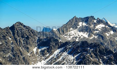 Snowy mountain peak on a clear day
