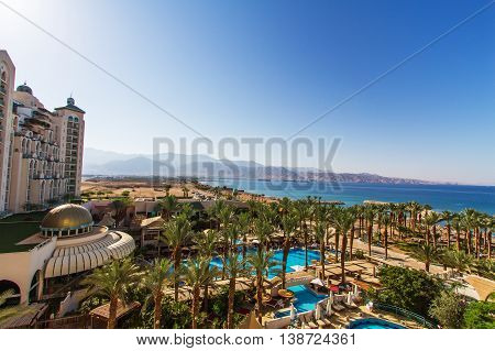 Eilat Israel - July 3 2016: Panoramic view on the central beach of Eilat - famous resort and recreational city in Israel .
