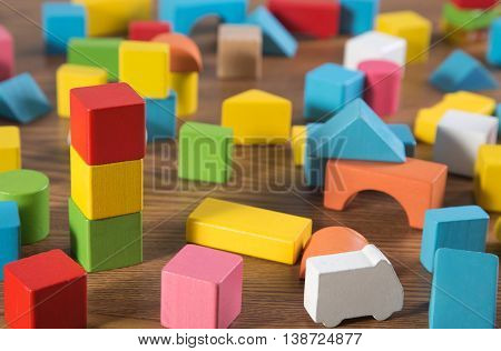 a color Sorted wooden toy Block Background