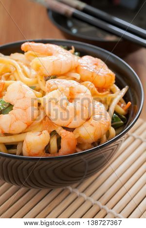 Prawn Lo Mein stir fried prawns with egg noodles and bean sprouts