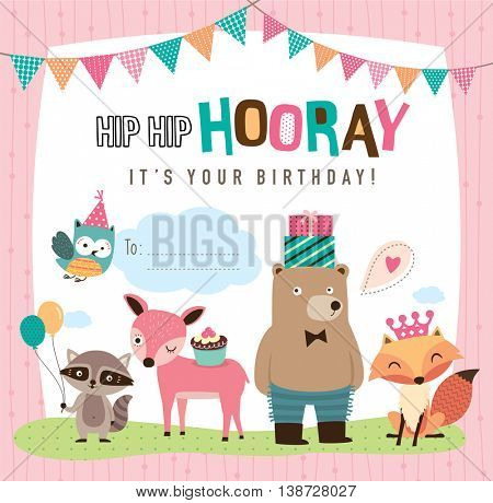 Birthday card with cute cartoon animals
