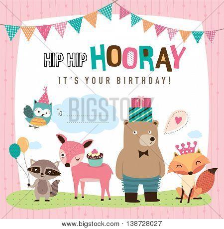 Birthday card with cute cartoon animals