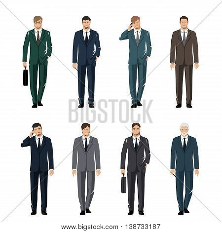 Young man in a classic elegant suit. Active successful businessman. Vector set.