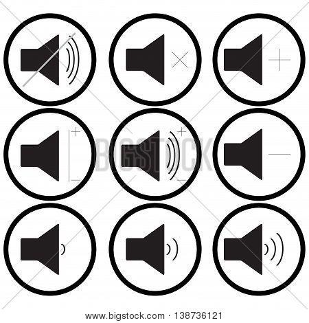 Set of sound icons monochrome. Audio and multimedia sound control volume. Vector illustration
