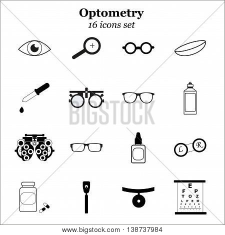 Vector black optometry 16 icon set. Optician, ophtalmology, vision correction, eye test, eye care, eye diagnostic. Optical set