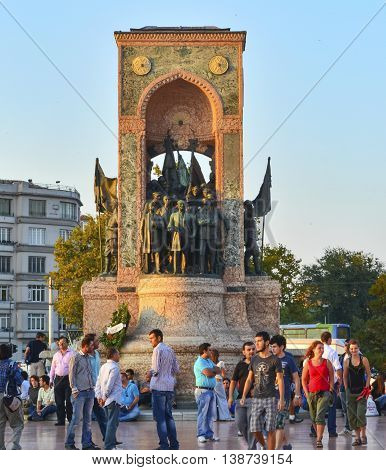 Istanbul Turkey - September 9 2012: The Republic Monument (Turkish: Cumhuriyet Aniti) is a notable monument located at Taksim Square in Istanbul Turkey to commemorate the formation of the Turkish Republic in 1923. Built in two and half years with financia