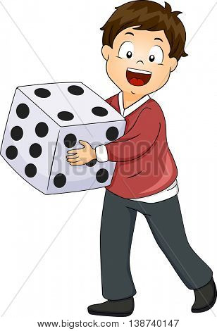 Illustration of a Little Boy Rolling a Giant Die
