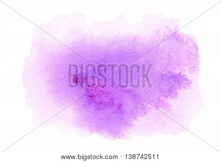 Pink ink spot watercolor stain with watercolour paint stroke. Abstract watercolour hand paint texture isolated on white background